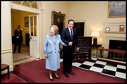 British Prime Minister David Cameron with former Prime Minister Baroness Thatcher inside Number 10 Downing Street, Tuesday June 8, 2010. Photo By Andrew Parsons / i-Images.