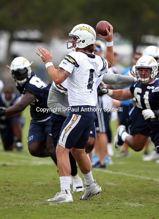 San Diego Chargers quarterback Zach Mettenberger (4) throws a pass during the Chargers 2016 NFL minicamp football practice held on Tuesday, June 14, 2016 in San Diego. (©Paul Anthony Spinelli)