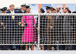 © Licensed to London News Pictures. 24/10/2018. London, UK. King Willem-Alexander,  Queen Maxima, Sophie of Wessex, Prince Edward and the Duke of Kent, on board HNLMS Zeeland, watching the exercise. British Royal Marines are joined by the The Royal Netherlands Marines in a military demonstration at HNLMS Zeeland, which is anchored next to anchored next to HMS Belfast on the River Thames in central London. Members of the British and Dutch Royal families watched the event as part of a state visit to the UK. Photo credit: Ben Cawthra/LNP