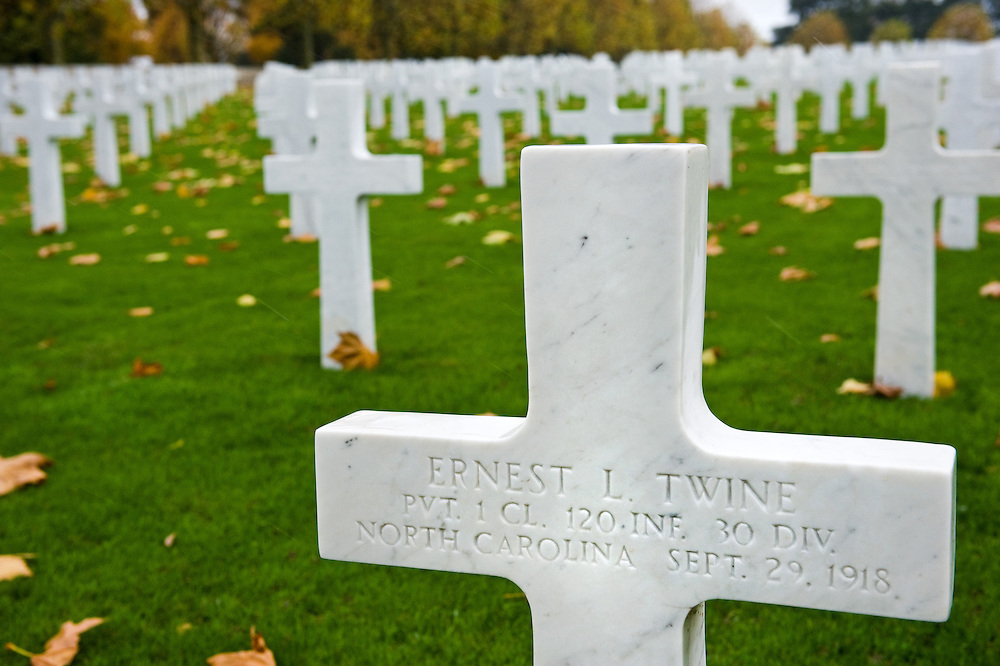 Crosses at the Somme American Cemetery and Memorial located in Bony, Aisne, Picardy, France. It contains the graves of 1,844 of the United States' military dead from World War I