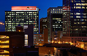 Nighttime view of the RedHat tower and other downtown buildings in Raleigh, North Carolina