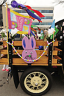 March 31, 2013 - Garden City, New York, U.S. - This 1929 Model A Ford PickUp has colorful Easter decorations on it rear wood cargo area, at the 58th Annual Easter Sunday Vintage Car Parade and Show sponsored by the Garden City Chamber of Commerce. Hundreds of authentic old motorcars, 1898-1988, including antiques, classic, and special interest participated in the parade.