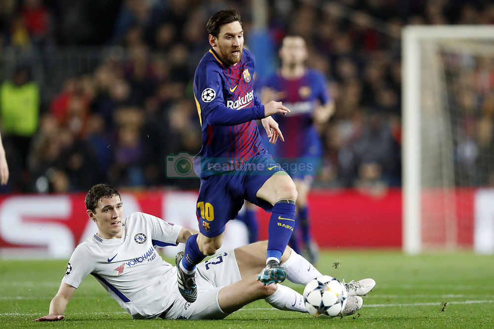 (l-r) Andreas Christensen of Chelsea FC, Lionel Messi of FC Barcelona during the UEFA Champions League round of 16 match between FC Barcelona and Chelsea FC at the Camp Nou stadium on March 14, 2018 in Barcelona, Spain.