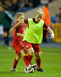 LONDON, ENGLAND - Saturday, October 26, 2013: Wales' Kylie Davies warms-up before the FIFA Women's World Cup Canada 2015 Qualifying Group 6 match against England at the New Den. (Pic by David Rawcliffe/Propaganda)