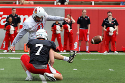 21 April 2018:   T. SMith holds for Bohlken  Illinois State Redbirds Spring Scrimmage Football game at Hancock Stadium in Normal IL (Photo by Alan Look)