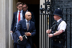 © Licensed to London News Pictures. 04/06/2018. London, UK. Home Secretary Sajid Javid (2-R) leaves 10 Downing Street. Photo credit: Rob Pinney/LNP