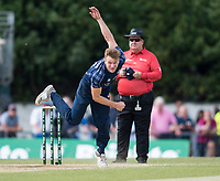 EDINBURGH, SCOTLAND - JUNE 12: Richie Berrington of Scotland bowls during the International T20 Friendly match between Scotland and Pakistan at the Grange Cricket Club on June 12, 2018 in Edinburgh, Scotland. (Photo by MB Media/Getty Images)