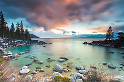 """Secret Cove Sunset 3"" - Sunset photograph of Secret Cove on the east shore of Lake Tahoe, Nevada."