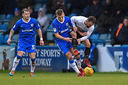 Gillingham FC midfielder Jake Hessenthaler (8) and Peterborough United midfielder Danny Lloyd  (10) during the EFL Sky Bet League 1 match between Gillingham and Peterborough United at the MEMS Priestfield Stadium, Gillingham, England on 10 February 2018. Picture by Martin Cole.
