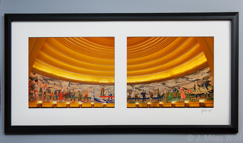 Limited edition split frame photos of the historic mosaic murals within Union Terminal in Cincinnati. 18x36