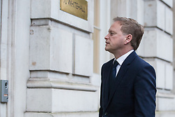 London, UK. 12 November, 2019. Grant Shapps, Conservative PPC for Welwyn Hatfield, arrives at the Cabinet Office for an emergency Cobra committee meeting convened to discuss the Government's response to devastating flooding in the north of England. According to BBC reports, 39 flood warnings remained in place last night, including five severe warnings affecting the River Don in South Yorkshire.