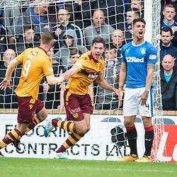 Ben Heneghan celebrates after scoring for Motherwell, Motherwell v Rangers, Scottish Premiership, 6 August 2017 . (c) Adam Oliver | sportPix.org.uk