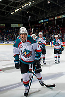 KELOWNA, CANADA - FEBRUARY 23: Devin Steffler #4 of the Kelowna Rockets is all smiles after the win against the Kamloops Blazers on February 23, 2019 at Prospera Place in Kelowna, British Columbia, Canada.  (Photo by Marissa Baecker/Shoot the Breeze)