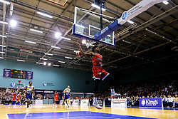 Justin Gray of Bristol Flyers slam dunks - Mandatory by-line: Robbie Stephenson/JMP - 05/10/2018 - BASKETBALL - University of Worcester Arena - Worcester, England - Bristol Flyers v Worcester Wolves - British Basketball League