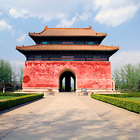 Asia, China, Beijing. Gate marking end of Avenue of the Animals at Ming Tombs, a UNESCO World Heritage Site.