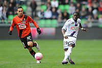 FOOTBALL - FRENCH CHAMPIONSHIP 2011/2012 - L1 - STADE RENNAIS v TOULOUSE FC - 18/03/2012 - PHOTO PASCAL ALLEE / DPPI - SERGE AURIER (TFC) / MELVUT ERDING (REN)