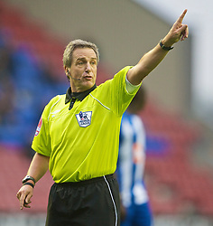 WIGAN, ENGLAND - Sunday, October 18, 2009: Referee Alan Wiley during the Premiership match between Manchester City and Wigan Athletic at the JJB Stadium. (Pic by David Rawcliffe/Propaganda)