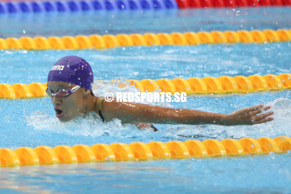 Yeo Chiok Sze in action in her 200m butterfly race. She finished third in the 12 year old age group with a timing of 2:48.89. (Photo © Chua Kai Yun/Red Sports)