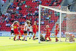 LLANELLI, WALES - Thursday, August 22, 2013: Wales' Rachel Hignett clears the ball off the line against England during the Group A match of the UEFA Women's Under-19 Championship Wales 2013 tournament at Parc y Scarlets. (Pic by David Rawcliffe/Propaganda)