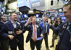 Feb. 6, 2018  - New York, New York, U.S. - Traders celebrate at the New York Stock Exchange after U.S. stocks closed higher after a volatile trading session on Tuesday. The Dow Jones Industrial Average added 567.02 points, or 2.33 percent, to 24,912.77. The S&P 500 increased 46.20 points, or 1.74 percent, to 2,695.14. The Nasdaq Composite Index was up 148.36 points, or 2.13 percent, to 7,115.88. (Credit Image: © Wang Ying/Xinhua via ZUMA Wire)