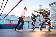 October 27, 2016: Mexican Grand Prix. Lucha libre wrestlers with Townsend Bell