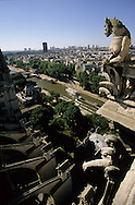 France. Paris elevated view from Notre dame cathedral. Gargoyles look down at the Seine river from the Chimera gallery of Notre-Dame cathedral. Chimera gallery of Notre dame cathedral .
