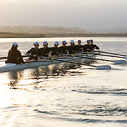 14 April 2016: The San Diego State Aztecs women's crew team practices on Mission Bay prior to upcoming races against UCSD and UCSB.