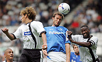 Photo: Paul Thomas. Derby County v Birmingham City, Pre season friendly, Pride Park, Derby. 23/07/2005. Birmingham's Martin Taylor wins the ball ahead of Inigo Idiakez and Michael Johnson.