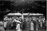 09/08/1962<br /> 08/09/1962<br /> 09 August 1961<br /> RDS Horse Show, Ballsbridge Dublin, Thursday. <br /> Picture shows a general view of the judging  of Ladies Hunters Ridden Side Saddle.