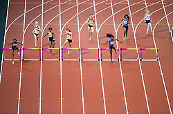 London, August 10 2017 . Kori Carter, USA, leads the field in the women's 400m hurdles final on day seven of the IAAF London 2017 world Championships at the London Stadium. © Paul Davey.