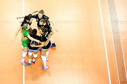 Players of Calcit Ljubljana celebrate during the volleyball match between Calcit Ljubljana and  Igor Gorgonzola Novara at 2016 CEV Volleyball Champions League, Women, League Round in Pool B, 5th Leg, on January 19, 2016, in Hala Tivoli, Ljubljana, Slovenia.  (Photo by Matic Klansek Velej / Sportida)
