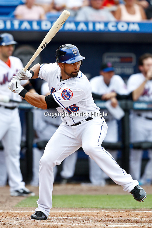 March 6, 2011; Port St. Lucie, FL, USA; New York Mets center fielder Angel Pagan (16) during a spring training exhibition game against the Boston Red Sox at Digital Domain Park. The Mets defeated the Red Sox 6-5.  Mandatory Credit: Derick E. Hingle