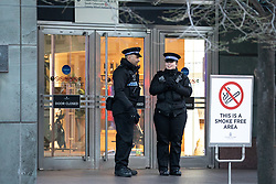 © Licensed to London News Pictures. 08/01/2019. London, UK. The scene where a man has died after falling from height in Canary Wharf Shopping Centre. He was pronounced dead at the scene shortly after 9am. Yesterday, another man died at Canary Wharf station after also falling from height. Photo credit : Tom Nicholson/LNP