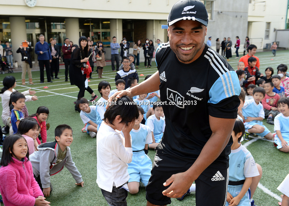 Francis Saili during a visit to Aoyama Elementary School ahead of the test match tomorrow between the New Zealand All Blacks and Japan. Rugby Union. Tokyo, Japan. Friday 1 November 2013. Photo: Andrew Cornaga/www.Photosport.co.nz