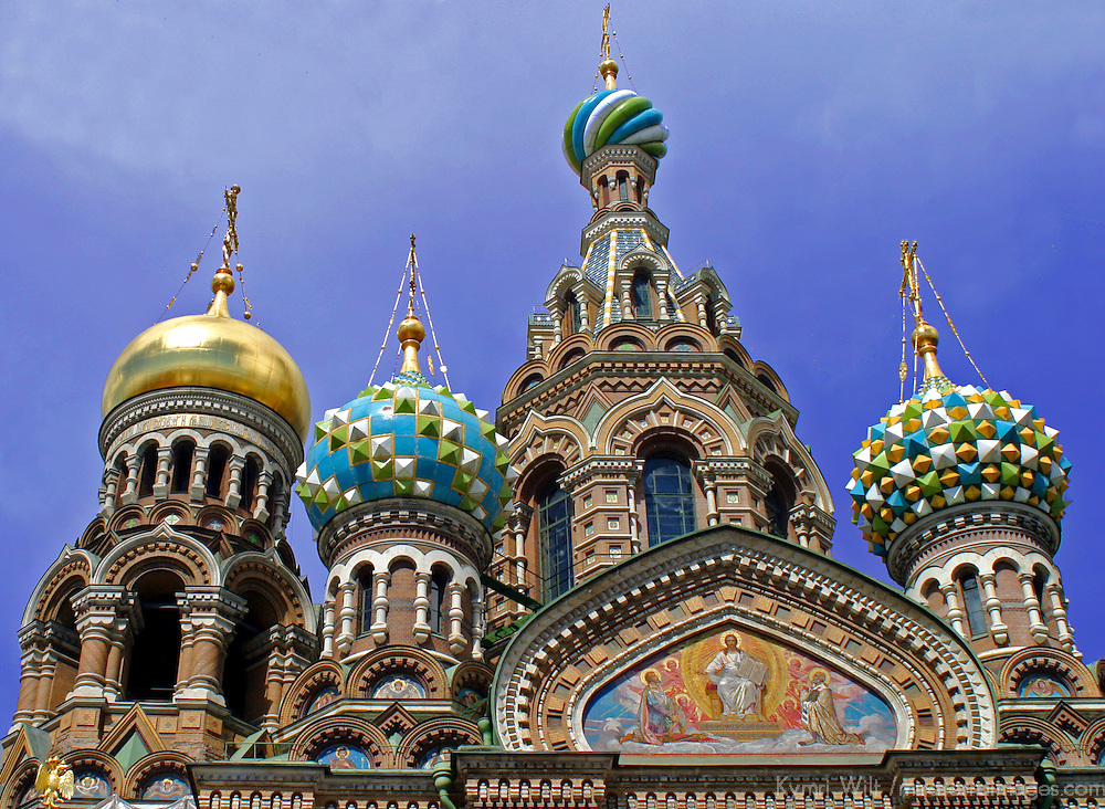Europe, Russia, St. Petersburg.  Church of the Spilled Blood Domes.