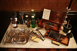© Licensed to London News Pictures. 04/10/2015. London, UK. Medical equipment is displayed in a recreation of Jack the Ripper's room at the Jack the Ripper Museum.  A planned protest was cancelled at the museum today. Photo credit: Peter Macdiarmid/LNP