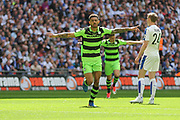 Forest Green Rovers Kaiyne Woolery(14) scores a goal 1-0 and celebrates during the Vanarama National League Play Off Final match between Tranmere Rovers and Forest Green Rovers at Wembley Stadium, London, England on 14 May 2017. Photo by Shane Healey.