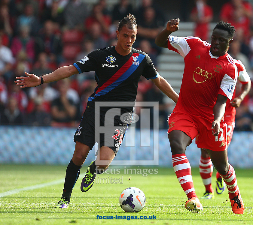 Picture by Paul Terry/Focus Images Ltd +44 7545 642257<br /> 28/09/2013<br /> Victor Wanyama of Southampton and Marouane Chamakh of Crystal Palace challenge for the ball during the Barclays Premier League match at the St Mary's Stadium, Southampton.