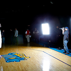 December 14, 2011; New Orleans, LA, USA; Photographer Jonathan Bachman shoots a portrait of New Orleans Hornets center Emeka Okafor (50) during Media Day at the New Orleans Arena.   Mandatory Credit: Derick E. Hingle-US PRESSWIRE