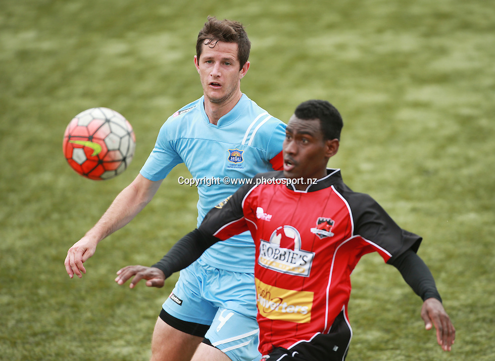 Fin Milne of Hawkes Bay and Atkin Kaua of Canterbury compete for the ball during the ASB Premiership Football game between Canterbury United v Hawkes Bay United held at ASB Football Park. 17 January 2016. Photo: Joseph Johnson / www.photosport.nz