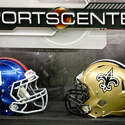 November 28, 2011; New Orleans, LA, USA; Helmets are seen on display for the Sportscenter set on the field prior to kickoff of a game between the New Orleans Saints and the New York Giants at the Mercedes-Benz Superdome. Mandatory Credit: Derick E. Hingle-US PRESSWIRE