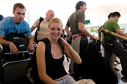 Dejan Skoflek and Maja Mihalinec at departure of team Slovenia at the end of European Athletics Championships Barcelona 2010, on August 2, 2010 at Airport, Barcelona, Spain. (Photo by Vid Ponikvar / Sportida)