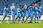 Coventry City celebrate winning on penalties during the EFL Trophy match between Coventry City and Forest Green Rovers at the Ricoh Arena, Coventry, England on 9 October 2018.