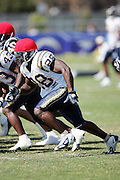 Running back Doug Chapman on special team workouts at the San Diego Chargers summer training camp at the Home Depot National Training Center in Carson, CA on 08/04/2004. ©Paul Anthony Spinelli