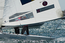 2012 Olympic Games London / Weymouth<br /> Star Medal Race<br /> Just after the finishing line crossing, realizing that the won the gold medal.<br /> Loof Fredrik, Salminen Max, (SWE, Star)