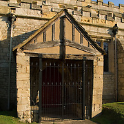 Church of St. Mary the Virgin in Sprotbrough, Doncaster, England. The ancient south door constructed in 1190.