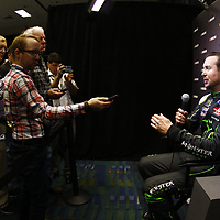 January 23, 2018 - Charlotte, North Carolina, USA: Kurt Busch (41) meets with the media during the NASCAR Media Tour at Charlotte Convention Center in Charlotte, North Carolina.