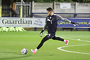 AFC Wimbledon goalkeeper Joe McDonnell (24) warming up during the EFL Trophy match between AFC Wimbledon and Tottenham Hotspur at the Cherry Red Records Stadium, Kingston, England on 3 October 2017. Photo by Matthew Redman.
