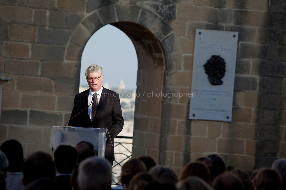 VALLETTA, MALTA - JUNE 19: EASO Executive Director Robert Visser gives a speech at the EASO (European Asylum Support Office) inauguration at the Upper Barrakka Gardens in Valletta, Malta, on June 19, 2011. EASO, the European Asylum Support Office, was inaugurated by Prime Minister Lawrence Gonzi and European Home Affairs Commissioner Cecilia Malmstr&ouml;m at the Upper Barrakka Gardens,Valletta.<br /> The EASO is a regulatory agency set up to improve the implementation of the Common European Asylum System, develop practical cooperation among member states on asylum, and support member states experiencing particular pressure on their asylum systems. Malta lobbied hard to make it the first EU agency based on its shores.