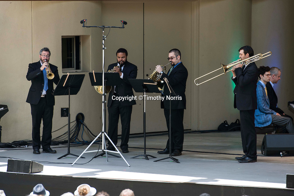 """The Knights perform """"Canonade"""" a melange of musical canons devised by Jeremy Denk with music by Josquin,  Mozart, Schumann, Kurtág, P.D.Q. Bach, Isham, Purcell, Stanchinsky, Beethoven, Haydn, Uri Caine and J.S. Bach at the 68th Ojai Music Festival at Libbey Bowl on June 15, 2014 in Ojai, California."""
